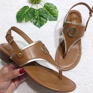 Tommy Hilfiger Tan Open Toe Slingback Sandals
